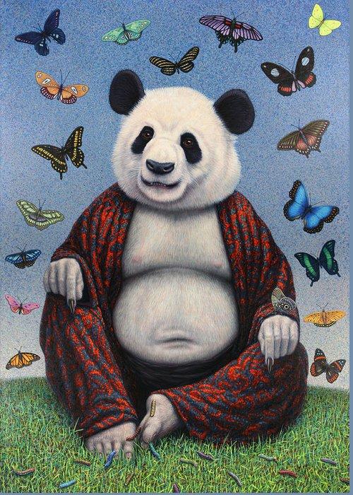 Panda Greeting Card featuring the painting Panda Buddha by James W Johnson