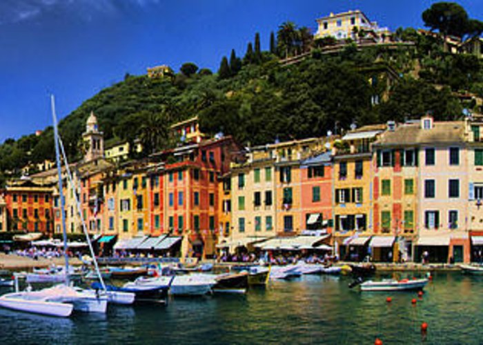 Port Greeting Card featuring the photograph Panorama Of Portofino Harbour Italian Riviera by David Smith