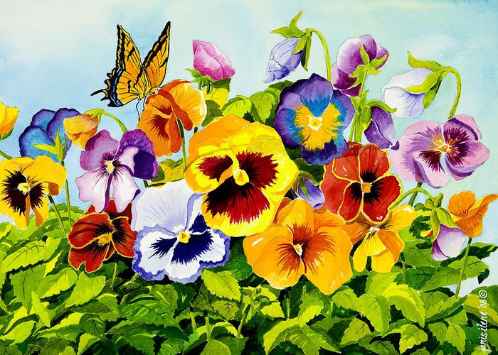Flower Greeting Card featuring the painting Pansies With Butterfly by Janis Grau