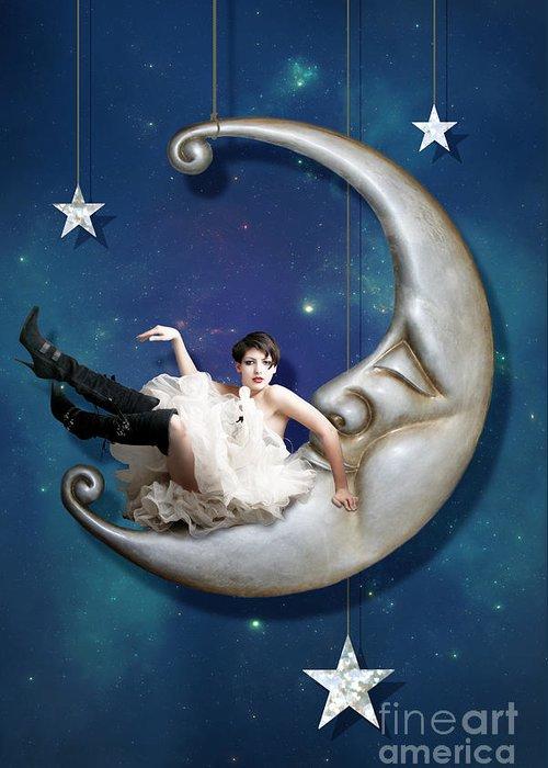 Moon Greeting Card featuring the digital art Paper Moon by Linda Lees
