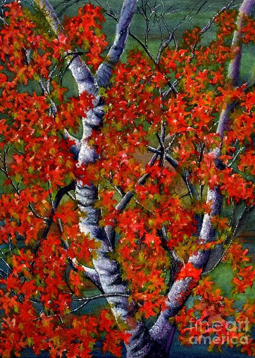 Colorful Trees Greeting Card featuring the painting Paper White Birch Reflections by Janine Riley