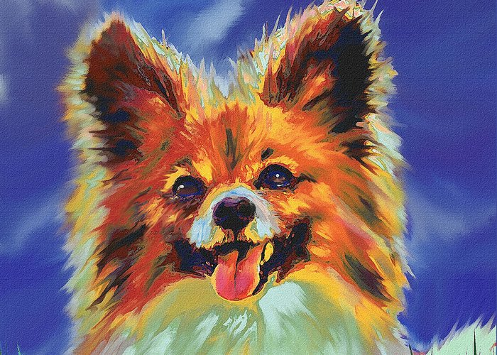Papillion Greeting Card featuring the digital art Papillion Puppy by Jane Schnetlage