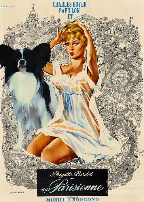 Dog Greeting Card featuring the painting Papillon Art - Una Parisienne Movie Poster by Sandra Sij