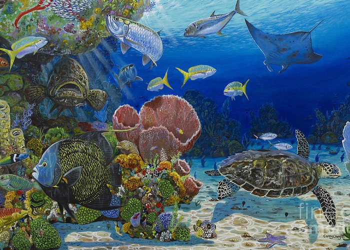 Turtle Greeting Card featuring the painting Paradise Re0012 by Carey Chen