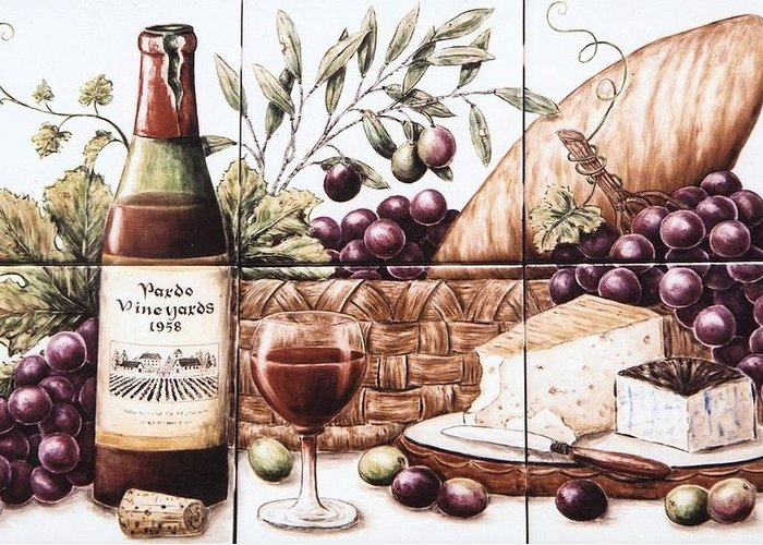 Wine Greeting Card featuring the painting Pardo Vineyards Wine And Cheese by Julia Sweda