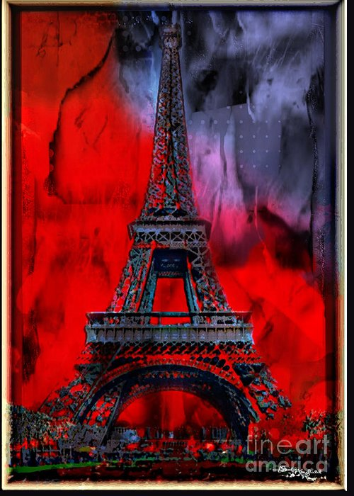 Paris Greeting Card featuring the mixed media Paris by Christine Mayfield