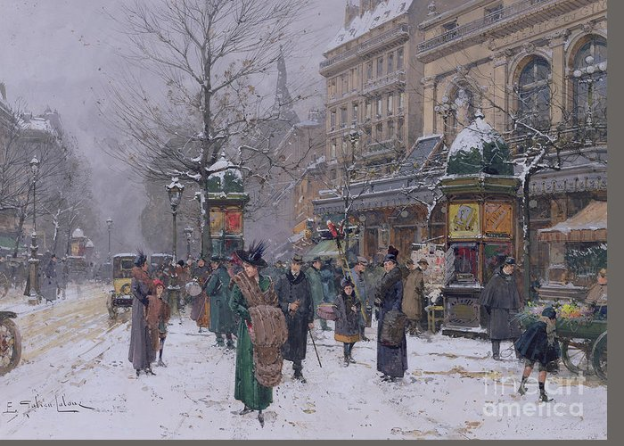 Boulevard Greeting Card featuring the painting Parisian Street Scene by Eugene Galien-Laloue