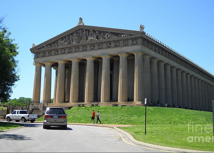 Parthenon Greeting Card featuring the photograph Parthenon In Nashville by Paula Talbert