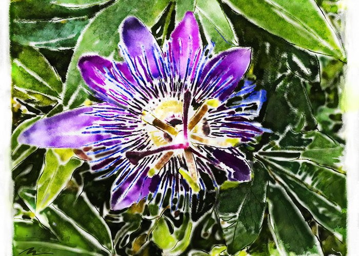 Flower Greeting Card featuring the painting Passion Fruit Flower by Nato Gomes