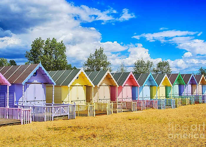 Beach Huts Canvas Greeting Card featuring the photograph Pastel Beach Huts by Chris Thaxter