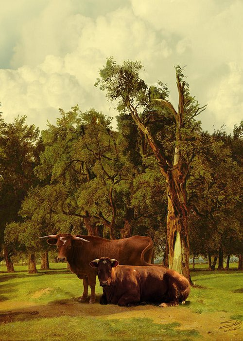 Cows Greeting Card featuring the digital art Pastureland by Schwartz