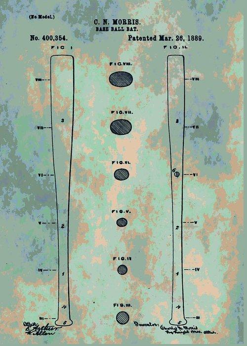 Baseball Bat Patent Greeting Card featuring the digital art Patent Art Baseball Bat by Dan Sproul