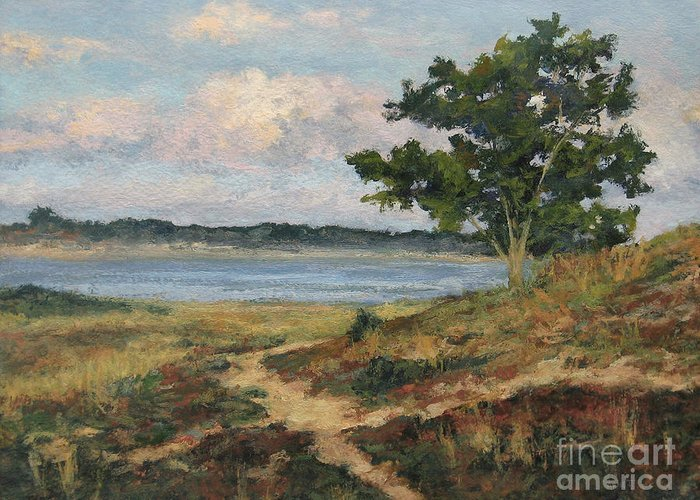 Wellfleet Greeting Card featuring the painting Path To The Harbor by Gregory Arnett