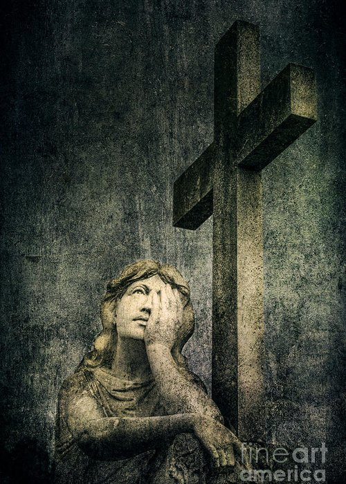 Cemetery Greeting Card featuring the photograph Patience In Pain by Andrew Paranavitana