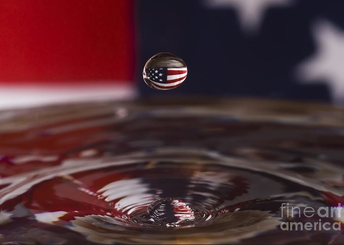 Water Greeting Card featuring the photograph Patriotic Water Drop by Anthony Sacco
