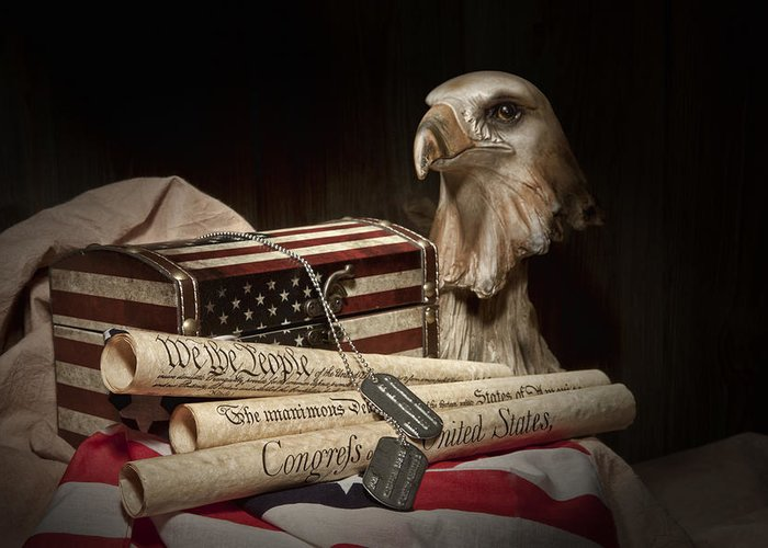 Eagle Greeting Card featuring the photograph Patriotism by Tom Mc Nemar