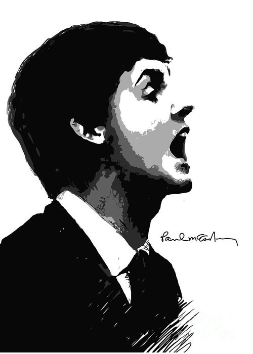 Paul Mccartney Greeting Card featuring the digital art Paul Mccartney No.01 by Unknow