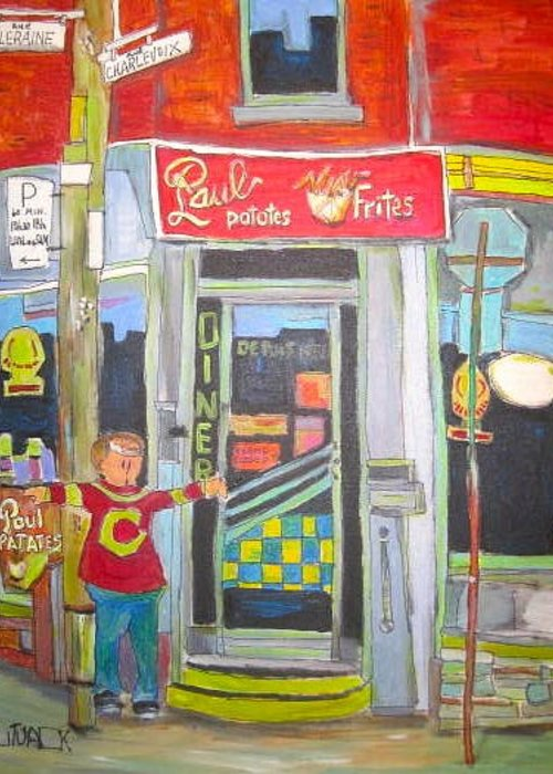 Montreal Chips Greeting Card featuring the painting Paul Patates Montreal Chip Bar Montreal Memories by Michael Litvack