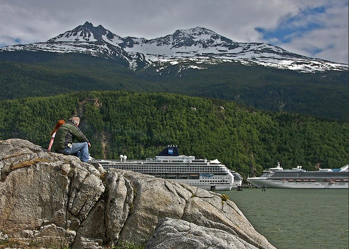 Cruise Greeting Card featuring the photograph Pause In Wonder At Cruise Ships In Alaska by John Haldane