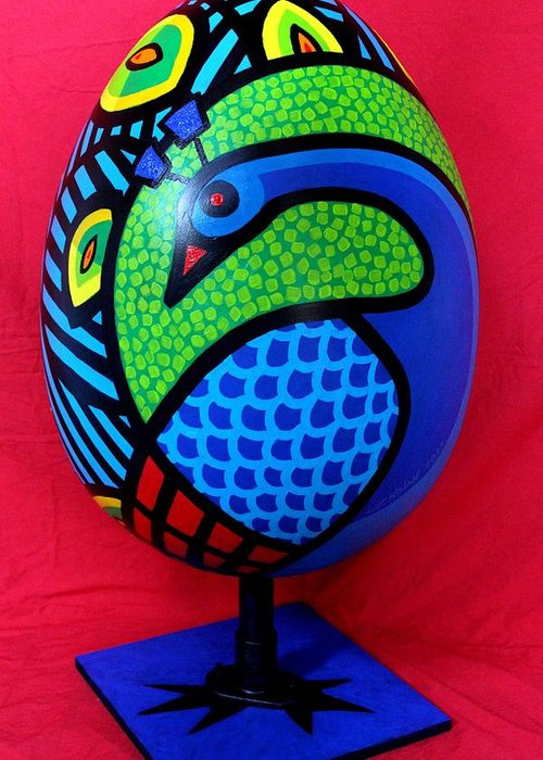 Peacock Greeting Card featuring the painting Peacock Egg by John Nolan