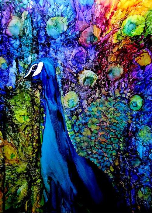 Ink Greeting Card featuring the painting Peacock II by Karen Walker