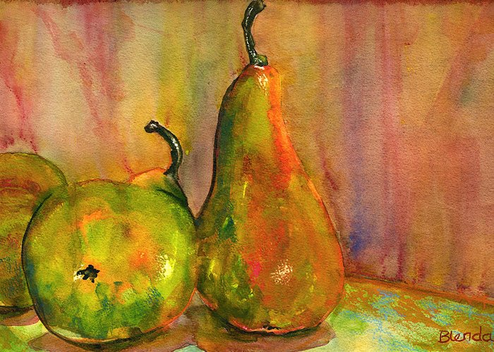 Pears Greeting Card featuring the painting Pears Still Life Art by Blenda Studio