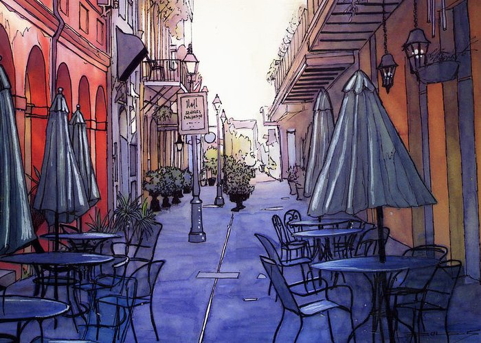 New Orleans Greeting Card featuring the painting Pedestrian Mall 212 by John Boles
