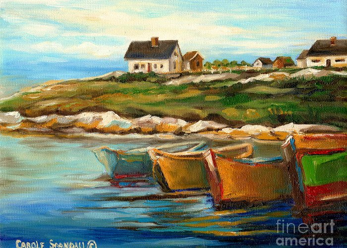 Peggys Cove Greeting Card featuring the painting Peggys Cove With Fishing Boats by Carole Spandau