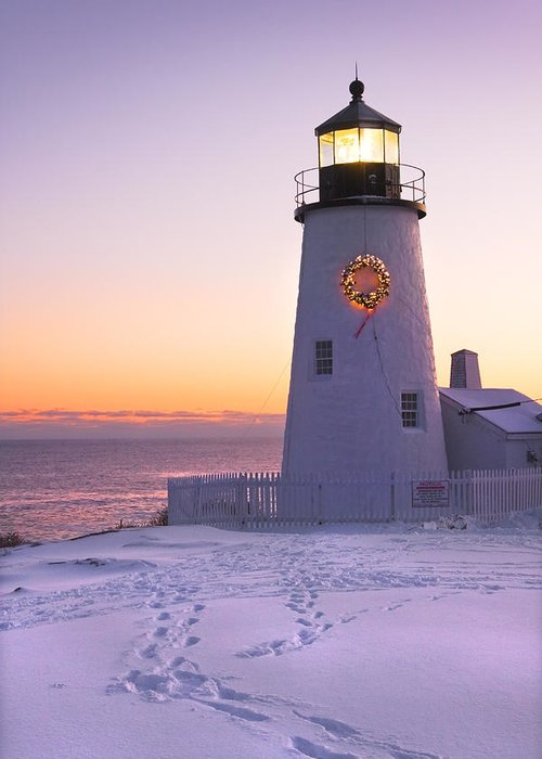Lighthouse Greeting Card featuring the photograph Pemaquid Point Lighthouse Christmas Snow Wreath Maine by Keith Webber Jr