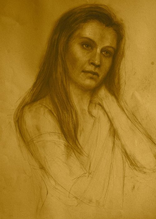 Pensive Greeting Card featuring the drawing Pensive by Colleen Gallo