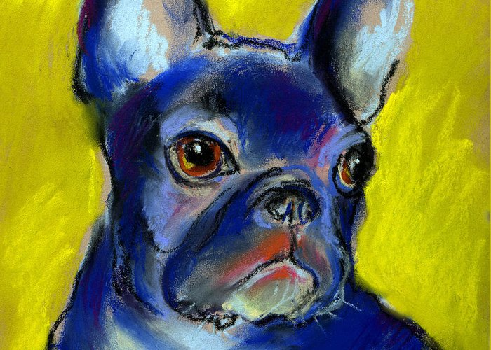 French Bulldog Greeting Card featuring the painting Pensive French Bulldog Portrait by Svetlana Novikova