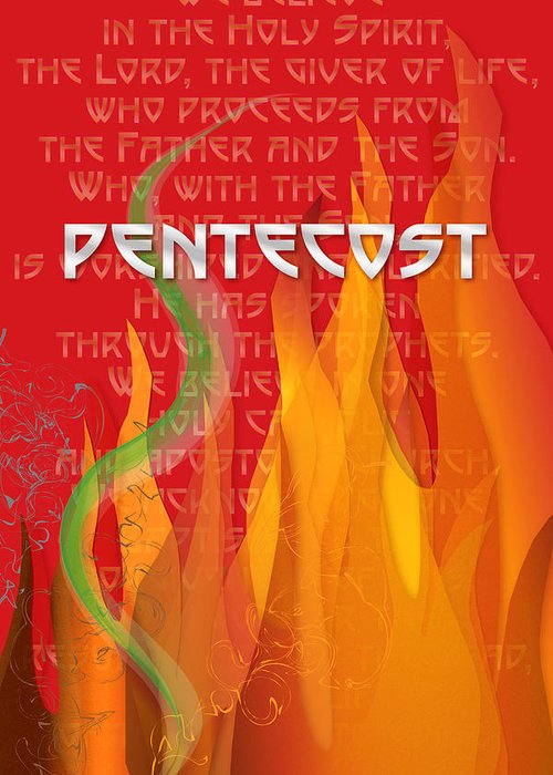 Pentecost Greeting Card featuring the digital art Pentecost Fires by Chuck Mountain
