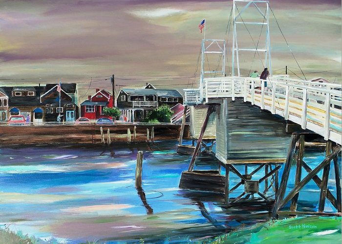 Perkin's Cove Greeting Card featuring the painting Perkins Cove Maine by Scott Nelson