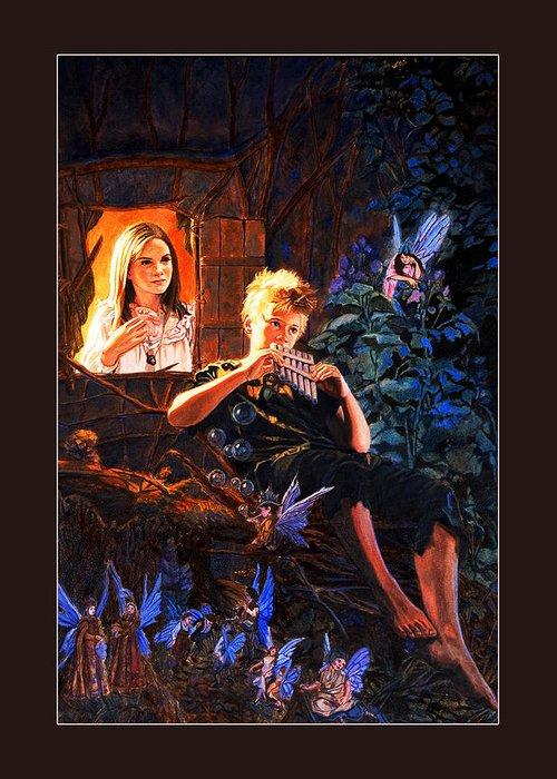 Peter Pan Greeting Card featuring the painting Peter Pan by Patrick Whelan