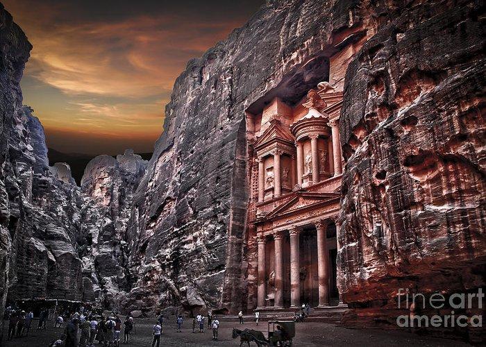 Jordan Greeting Card featuring the photograph Petra The Treasury by Dan Yeger