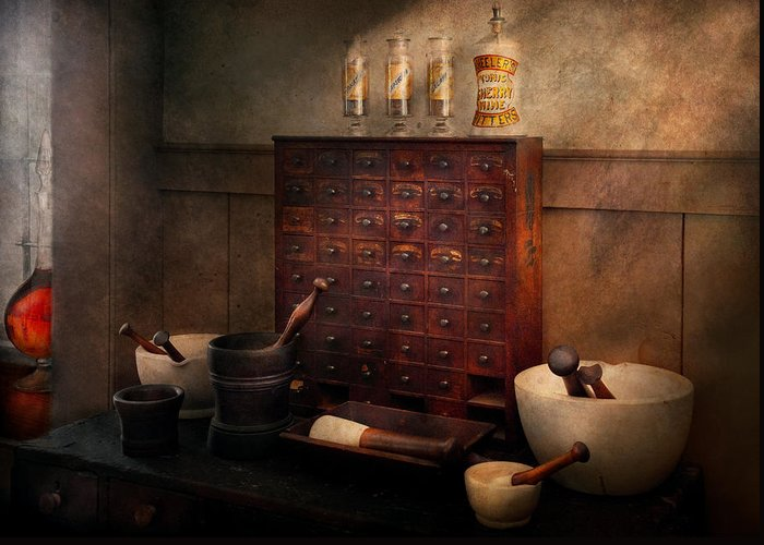 Hdr Greeting Card featuring the photograph Pharmacist - Organizing Powder by Mike Savad