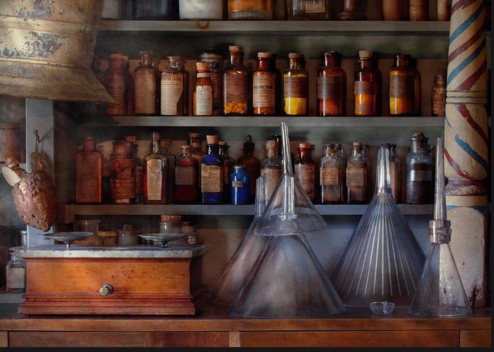 Hdr Greeting Card featuring the photograph Pharmacy - Master Of Many Trades by Mike Savad