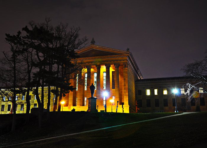 Philadelphia Greeting Card featuring the photograph Philadelphia Art Museum At Night From The Rear by Bill Cannon