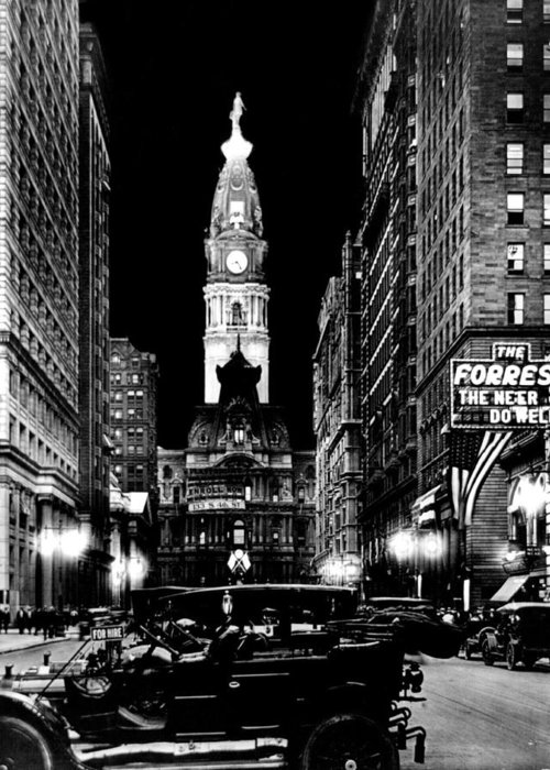 Philadelphia Greeting Card featuring the photograph Philadelphia City Hall 1916 by Benjamin Yeager