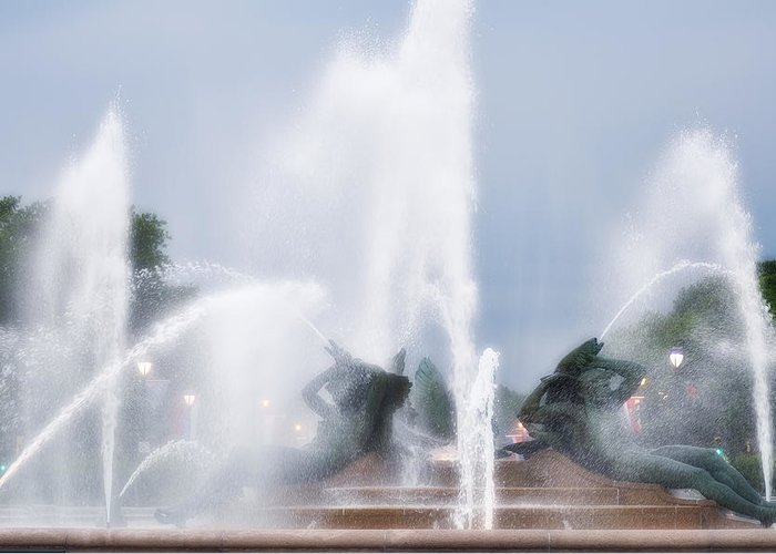 Fountain Greeting Card featuring the photograph Philadelphia - Swann Memorial Fountain by Bill Cannon