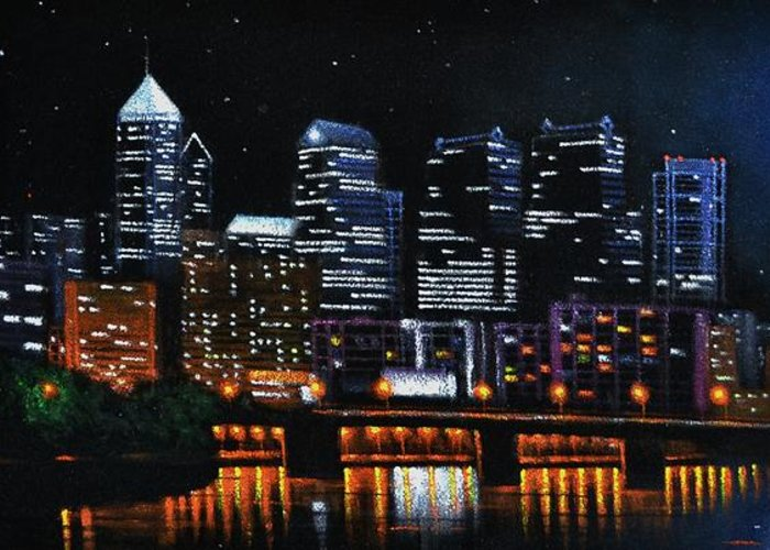 Philadelphia Skyline Greeting Card featuring the painting Phillie by Thomas Kolendra