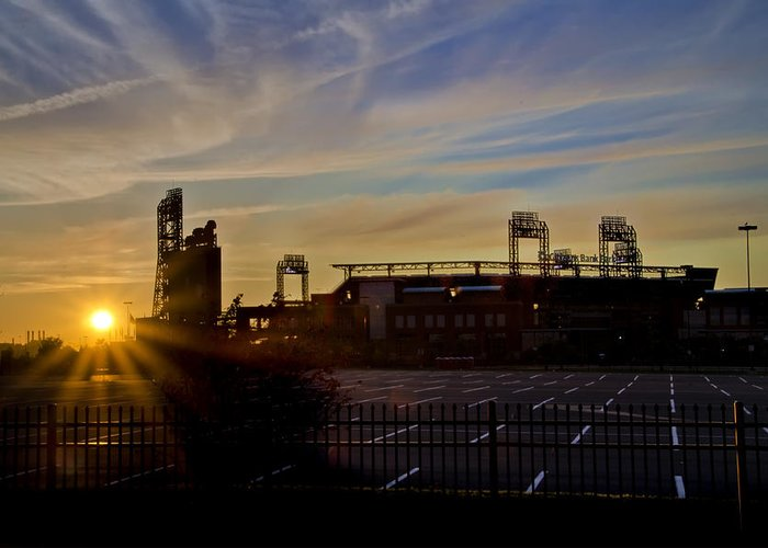 Phillies Greeting Card featuring the photograph Phillies Citizens Bank Park At Dawn by Bill Cannon