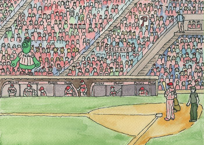 Philadelphia Greeting Card featuring the painting Phillies Game by Cee Heard