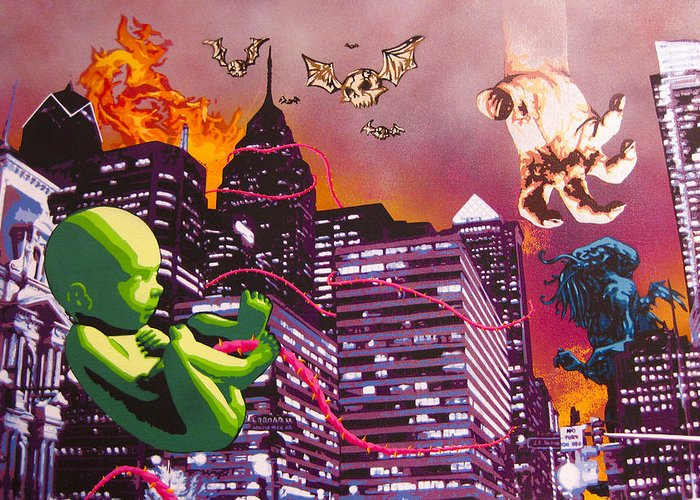 Philly Greeting Card featuring the painting Philly Rapture by Bobby Zeik