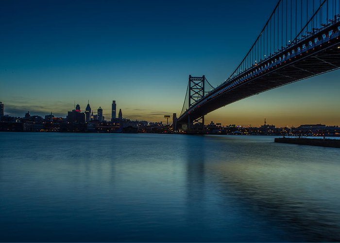 Ben Franklin Bridge Greeting Card featuring the photograph Philly Sunset by David Hahn
