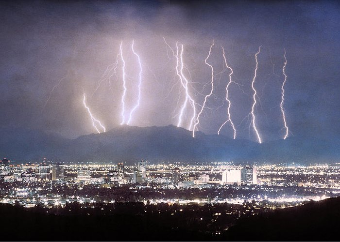 Lightning Greeting Card featuring the photograph Phoenix Arizona City Lightning And Lights by James BO Insogna