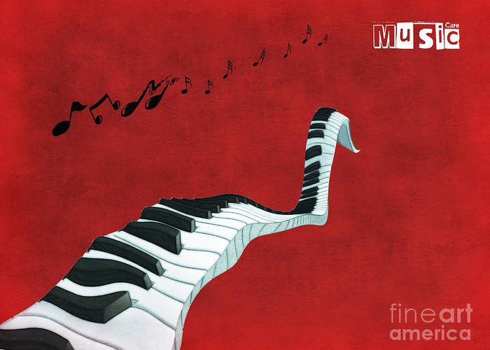 Piano Greeting Card featuring the digital art Piano Fun - S01at01 by Variance Collections