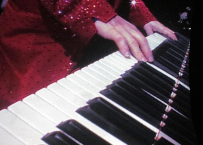 Elton Greeting Card featuring the photograph Piano Man At Work by Aaron Martens