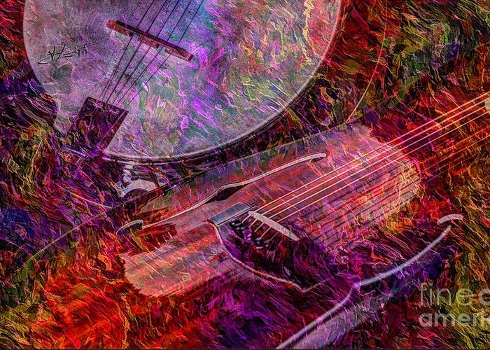 Banjo Greeting Card featuring the photograph Pickin And A Grinnin Digital Banjo And Guitar Art By Steven Langston by Steven Lebron Langston