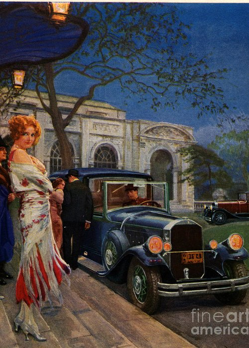 1920�s Greeting Card featuring the drawing Pierce Arrow 1920s Usa Cc Cars Womens by The Advertising Archives
